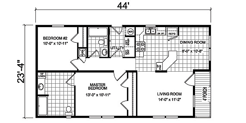 floor plans and specifications of the Holly manufactured home design